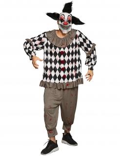 Sadistisches Clown-Kostüm für Herren Halloweenkostüm grau-schwarz-weiss