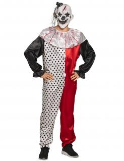 Psycho-Clownkostüm für Herren Halloweenkostüm rot-weiss-schwarz