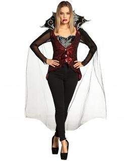 Vampir-Damenkostüm Halloweenkostüm schwarz-rot