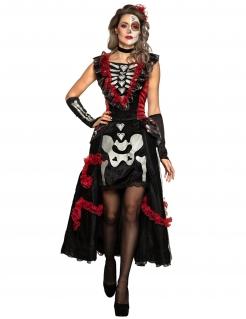 Día de los Muertos-Kostüm für Damen Halloweenkostüm schwarz-rot
