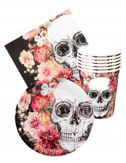 Einweg-Geschirr-Set Totenschädel und Blumen Halloween-Tischdeko 24-teilig bunt