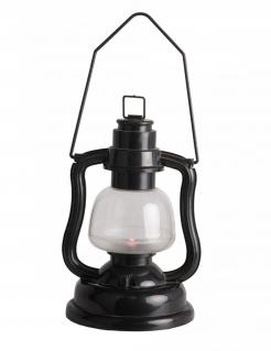 Deko-Laterne mit Lichteffekt Halloween-Deko schwarz-weiss 16 cm