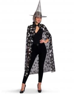 Hexen-Kostüm-Set für Damen Halloween-Accessoires schwarz-silber