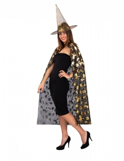 Hexen-Accessoireset für Damen Faschings-Accessoires schwarz-gold