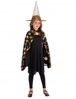 Hexen-Accessoire-Set für Mädchen Halloween-Accessoires schwarz-gold