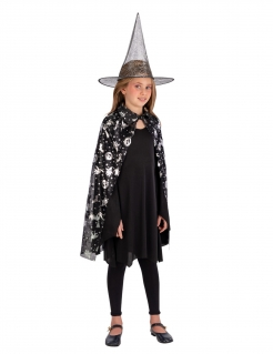 Hexen-Kostüm-Set für Kinder mit Umhang und Hut Halloween-Accessoires schwarz-silber