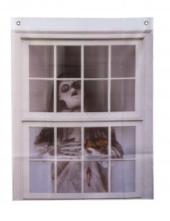 Gruseliger Puppen-Vorhang Halloween-Deko grau-beige 75 x 90 cm