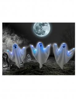 Deko-Geister mit Beleuchtung Halloween-Deko 3 Stück blau-weiss 52 cm