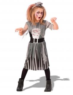 Zombie-Piraten-Kostüm für Mädchen Halloweenkostüm für Kinder grau-schwarz