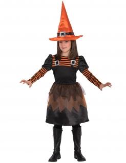 Gestreiftes Hexenkostüm für Mädchen Halloween-Kinderkostüm schwarz-orange