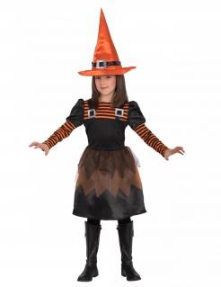 Kleine freche Hexe Kinderkostüm für Halloween schwarz-orange