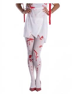Blutige Strumpfhose für Damen Halloween-Accessoire weiss-rot