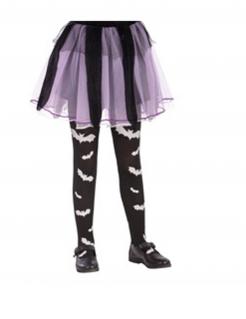 Fledermaus-Strumpfhose für Kinder Halloween-Accessoire schwarz-weiss