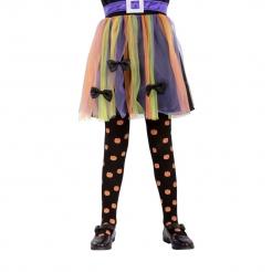 Halloween-Strumpfhose für Kinder mit Kürbis-Motiv schwarz-orange