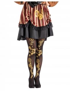 Steampunk-Strumpfhose für Damen Steampunk-Accessoire schwarz-gold