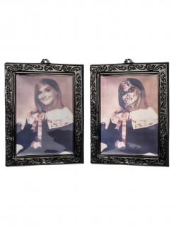Gruseliges 3D-Porträt junges Mädchen Halloween-Deko 29 x 23 cm