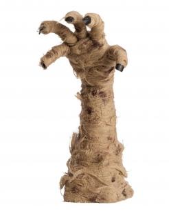 Animierte Mumienhand Halloween-Deko braun 40 cm