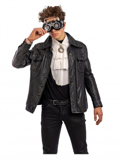 Futuristische Steampunk-Brille Halloween-Accessoire grau-schwarz