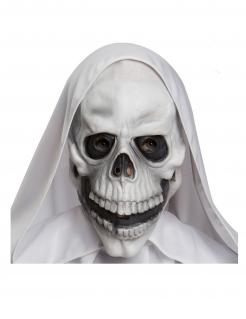 Unheimliche Schädel-Maske für Erwachsene weiß-schwarz