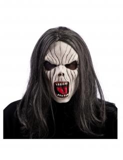 Vampir-Maske mit Haaren für Erwachsene weiß-grau-rot