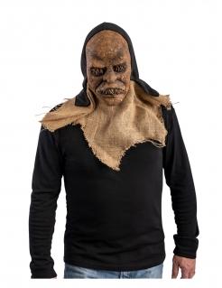 Killer-Vogelscheuche Halloween-Maske für Erwachsene braun-schwarz
