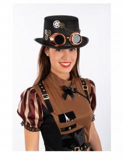Steampunk-Zylinder mit Brille Accessoire für Halloween schwarz-braun