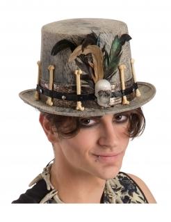 Voodoo-Zylinder für Erwachsene Halloween-Accessoire grau-braun