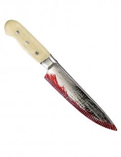 Blutiges Messer Spielzeugwaffe grau-beige-rot 33 cm