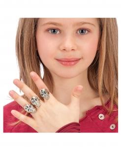 Totenkopf-Ringe für Kinder 6 Stück silbern
