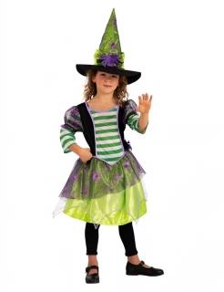 Farbenfrohe Waldhexe Kinderkostüm für Halloween grün-lila-schwarz