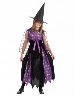 Spinnen-Hexenkostüm für Mädchen Halloweenkostüm lila-schwarz