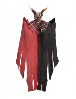 Horrorclown-Dekofigur zum Aufhängen Halloween-Deko schwarz-rot 60 cm