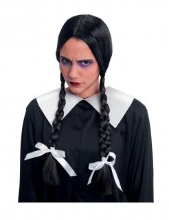 Gothic-Schülerin-Perücke für Damen Halloween-Accessoire schwarz-weiss