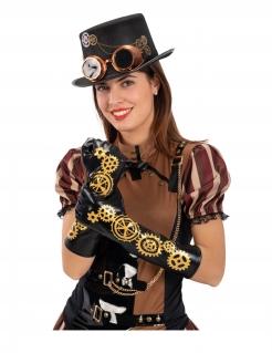 Steampunk-Handschuhe Zahnrad-Handschuhe Halloween-Accessoire schwarz-gold