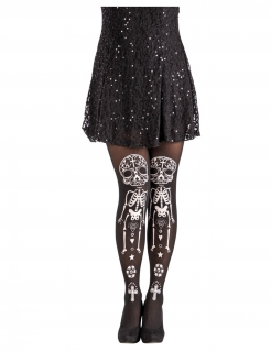 Dia-de-los-Muertos-Strumpfhose Skelett Halloween schwarz-weiss