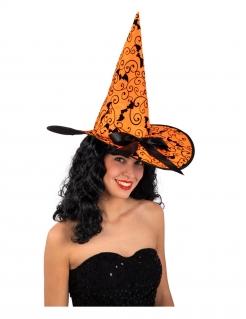 Hexenhut mit Fledermäusen Halloween-Accessoire orange-schwarz