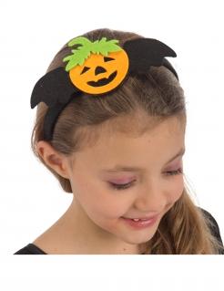 Kürbis-Haarreif für Mädchen Halloween-Accessoire schwarz-orange-grün