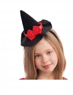 Mini-Hexenhut für Kinder Halloween.Accessoire schwarz-rot 13 cm