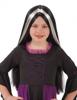 Hexen-Perücke für Kinder Langhaarperücke Halloween-Accessoire schwarz-weiss