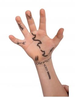 Gruselige Klebe-Tattoos für Halloween 60 Stück schwarz