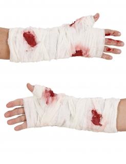 Blutige Bandage Halloween-Zubehör weiss-rot