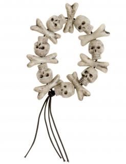 Knochen-Armband mit Totenschädeln für Halloween beige