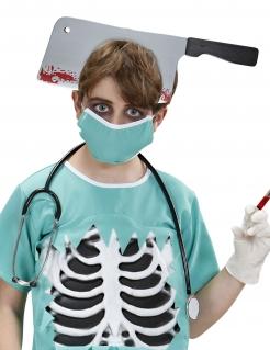 Blutiges Hackebeil für den Kopf Halloween-Accessoire grau-schwarz-rot