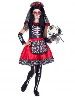 Día de los Muertos-Mädchenkostüm Halloween-Kostüm rot-schwarz