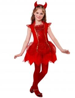 Dämonisches Teufel-Kostüm für Mädchen Halloweenkostüm rot