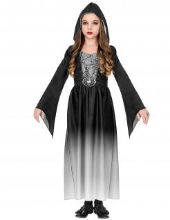 Spinnen-Vampir-Kostüm für Mädchen Halloweenkostüm schwarz-weiss