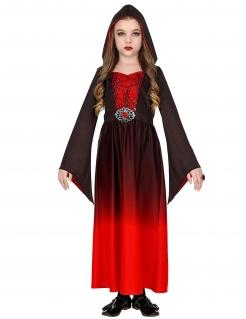 Mysteriöse Spinnen-Hexe Mädchenkostüm Halloweenkostüm rot-schwarz