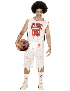 Zombie-Basketballer Kostüm für Herren Halloweenkostüm weiss-rot