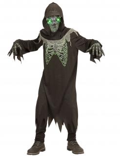 Sensenmann-Kinderkostüm mit Leucht-Maske schwarz-grün