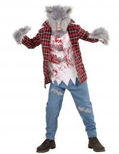 Flauschiges Werwolf-Kostüm für Kinder mit Maske Halloweenkostüm rot-grau